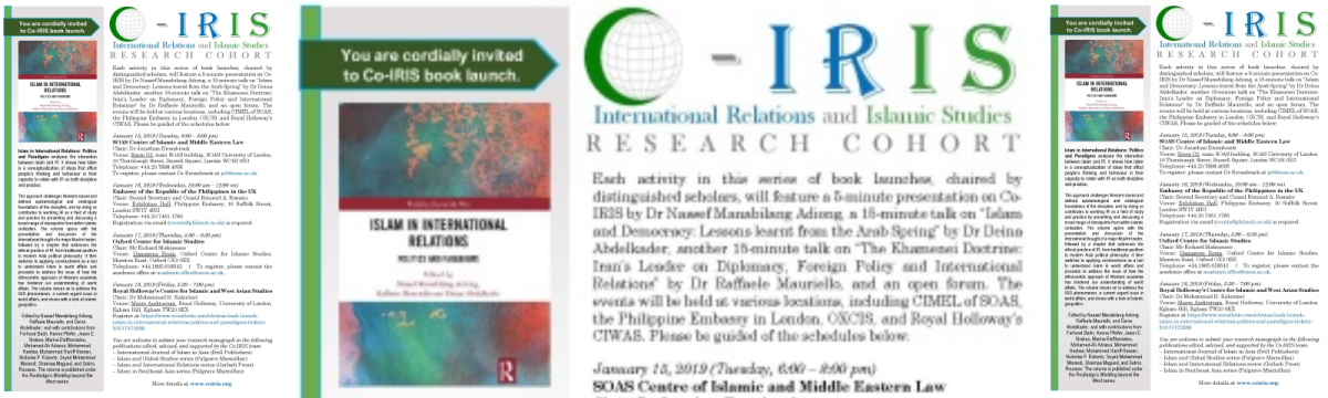 Book launch of 2nd Co-IRIS edited volume – Islam and International